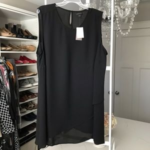 J.Jill black chiffon cross hem sleeveless tunic